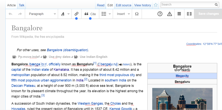 visual editor of wikipedia screenshot