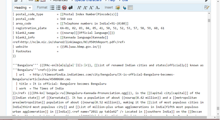 Traditional wiki markup editing screenshot